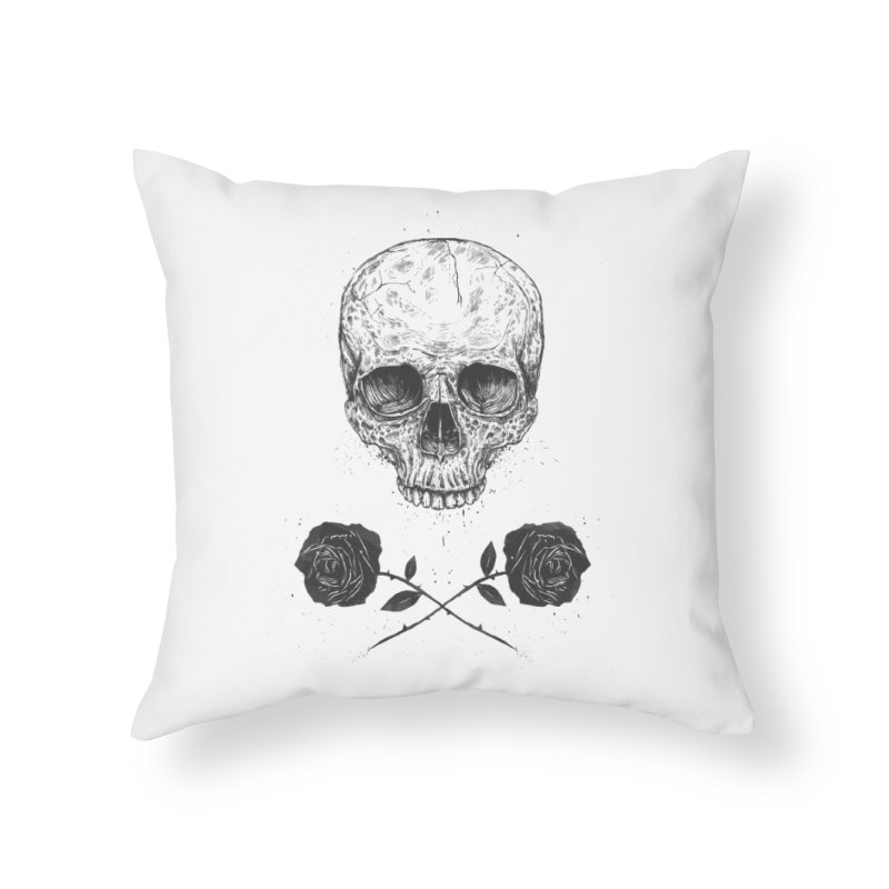 Skull N' Roses Home Throw Pillow by Balazs Solti