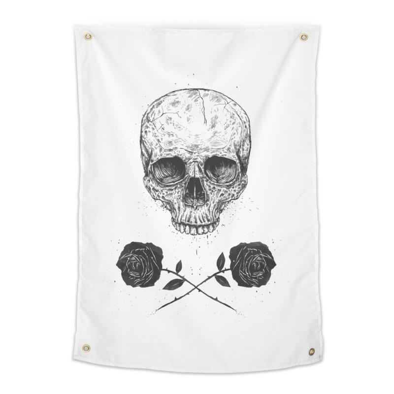 Skull N' Roses Home Tapestry by Balazs Solti