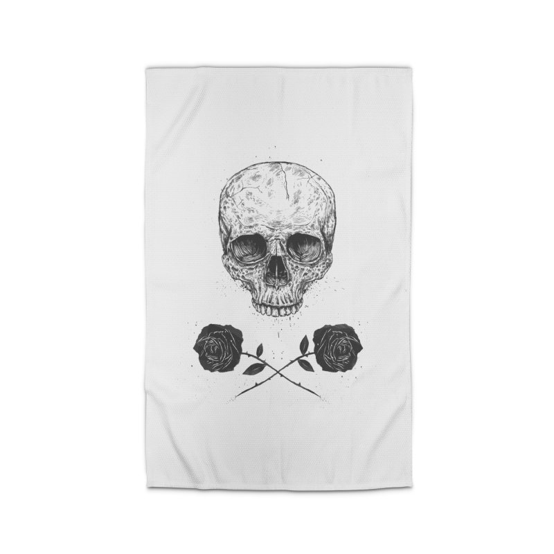Skull N' Roses Home Rug by Balazs Solti