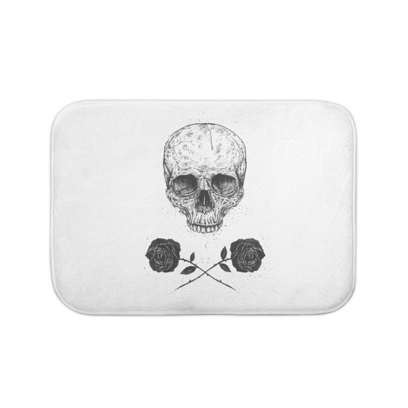 Skull N' Roses Home Bath Mat by Balazs Solti