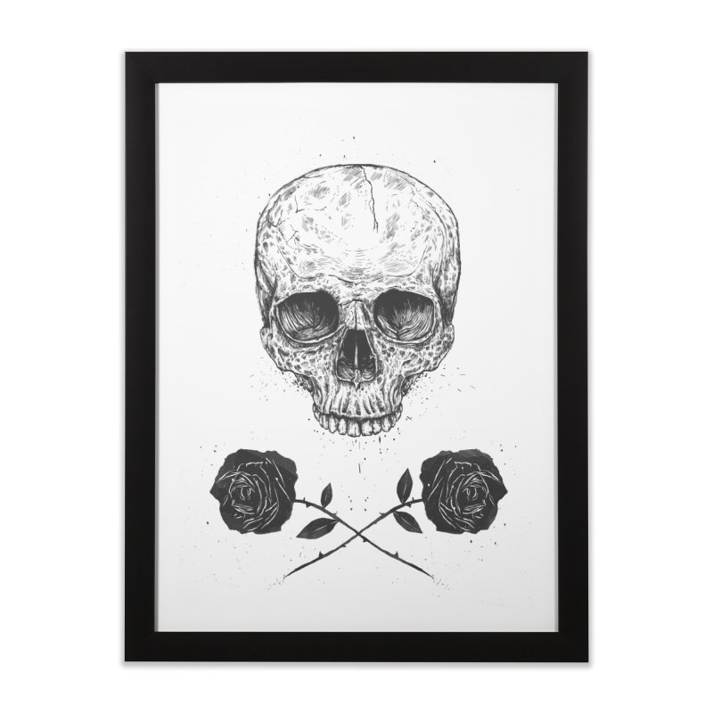 Skull N' Roses Home Framed Fine Art Print by Balazs Solti