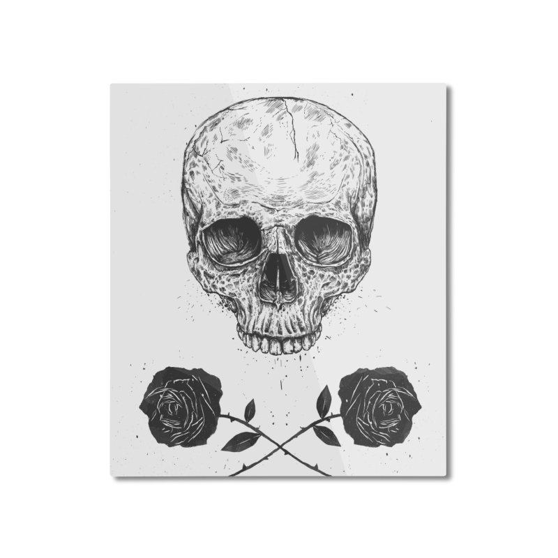 Skull N' Roses Home Mounted Aluminum Print by Balazs Solti