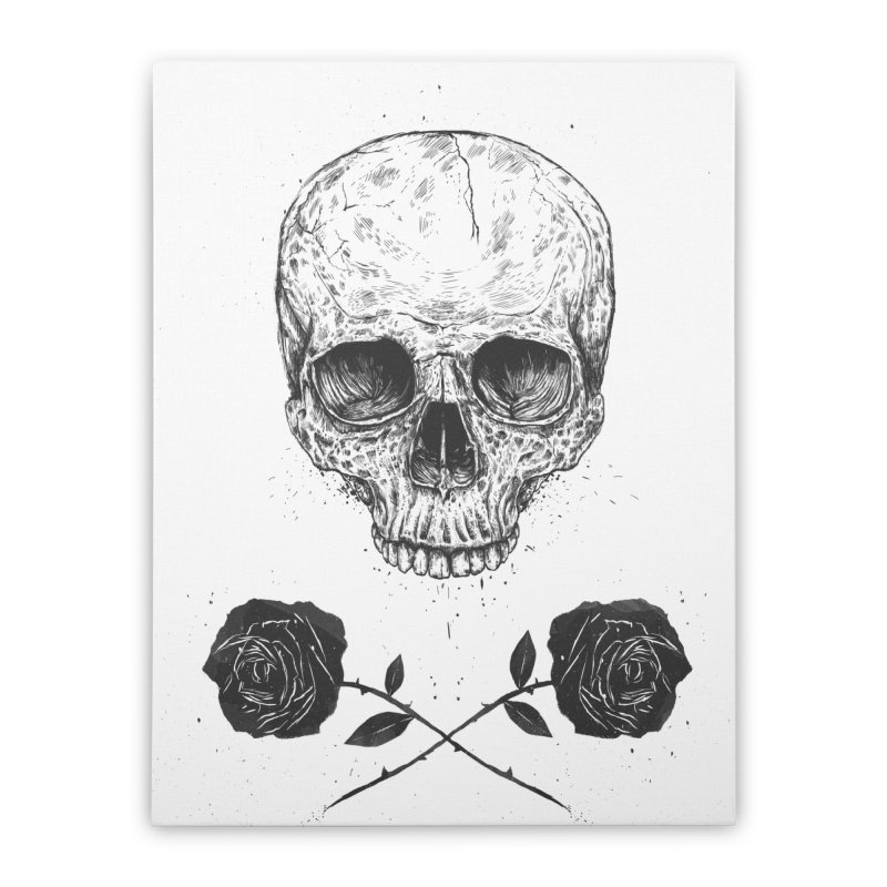 Skull N' Roses Home Stretched Canvas by Balazs Solti