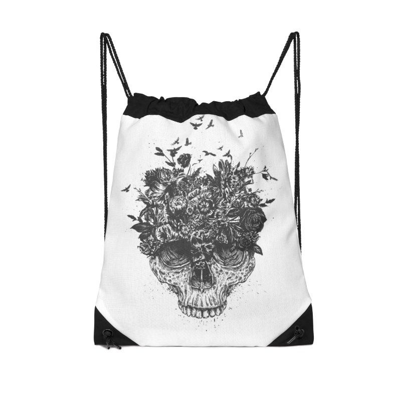 My head is a jungle (bw) Accessories Drawstring Bag Bag by Balazs Solti