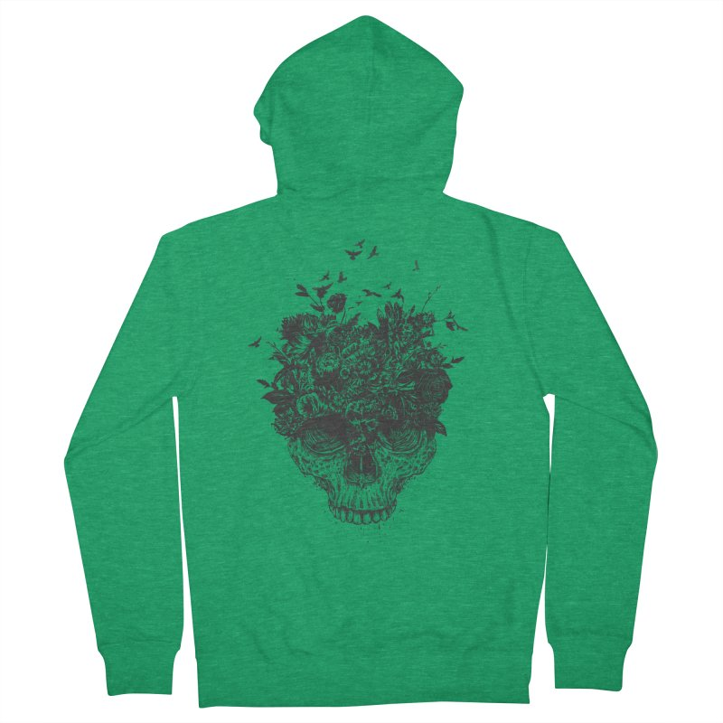 My head is a jungle (bw) Women's French Terry Zip-Up Hoody by Balazs Solti