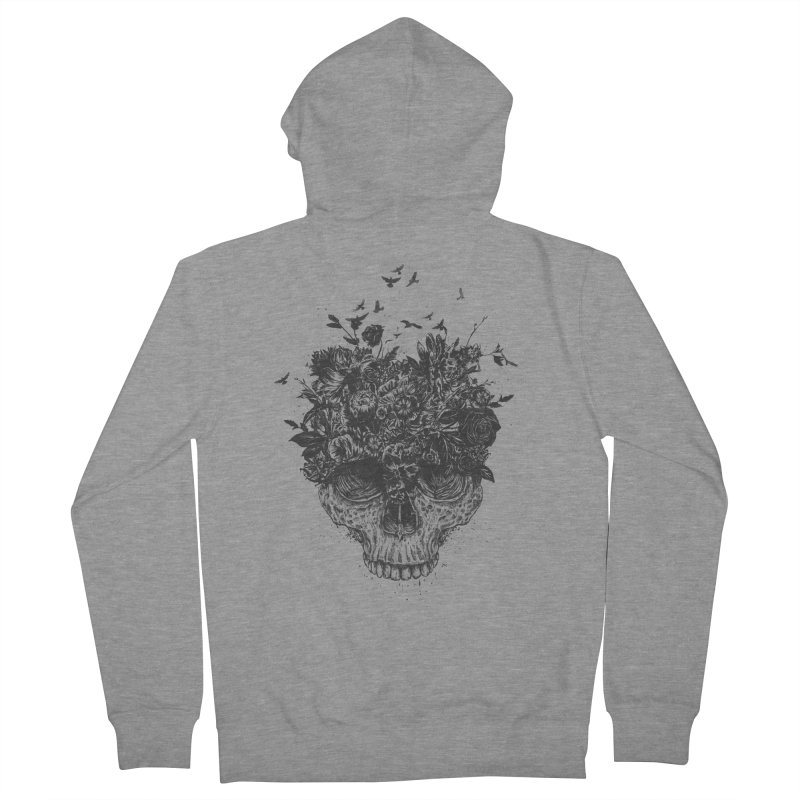 My head is a jungle (bw) Men's French Terry Zip-Up Hoody by Balazs Solti