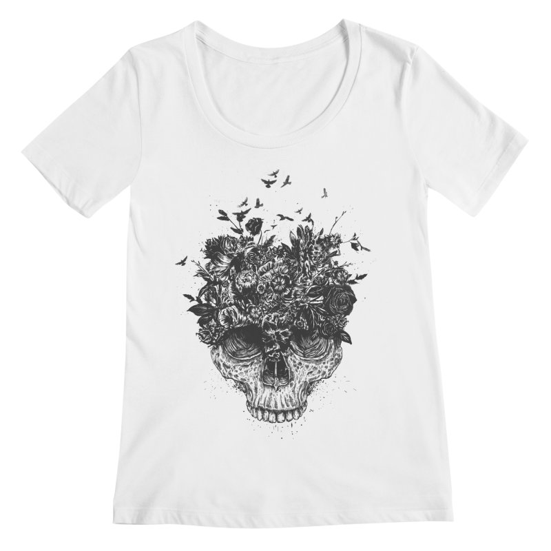 My head is a jungle (bw) Women's Regular Scoop Neck by Balazs Solti