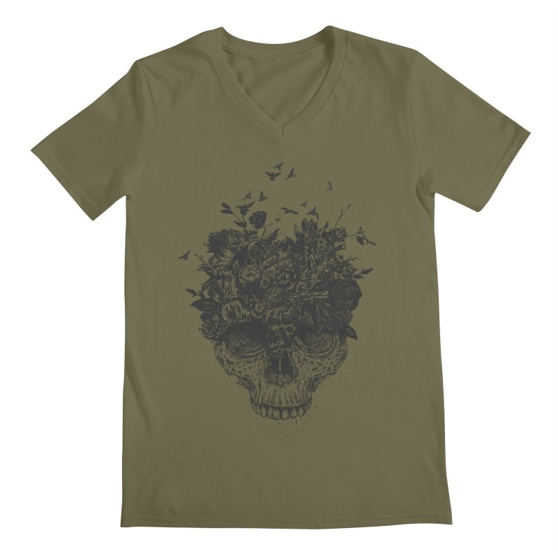 My head is a jungle (bw) Men's Regular V-Neck by Balazs Solti