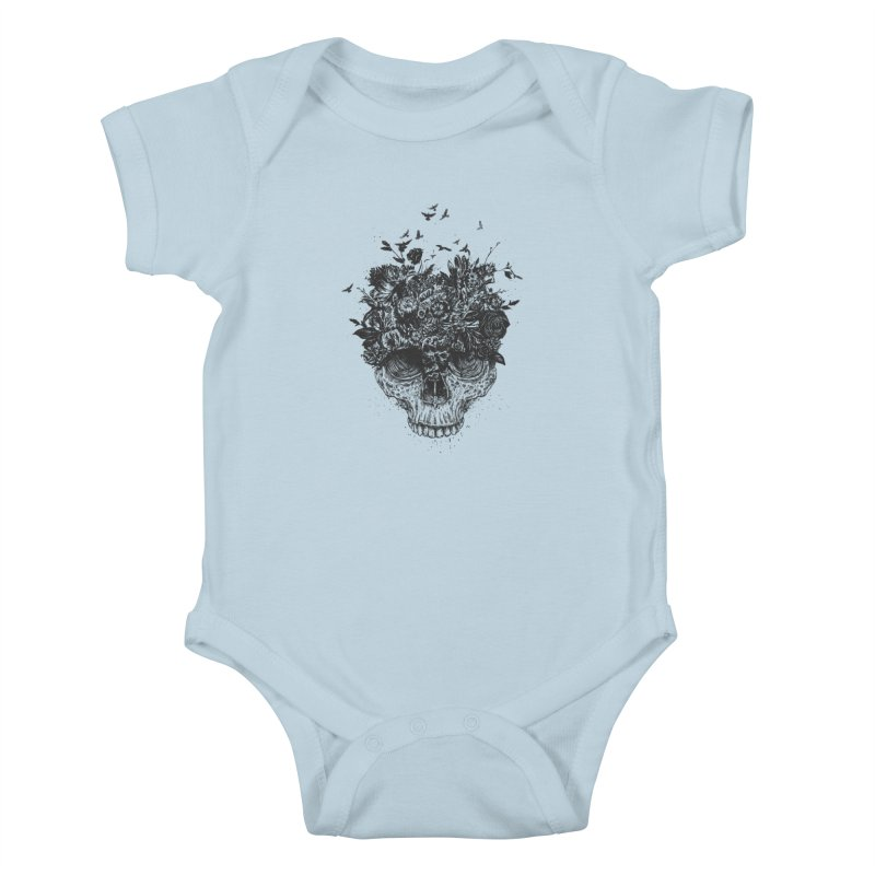 My head is a jungle (bw) Kids Baby Bodysuit by Balazs Solti