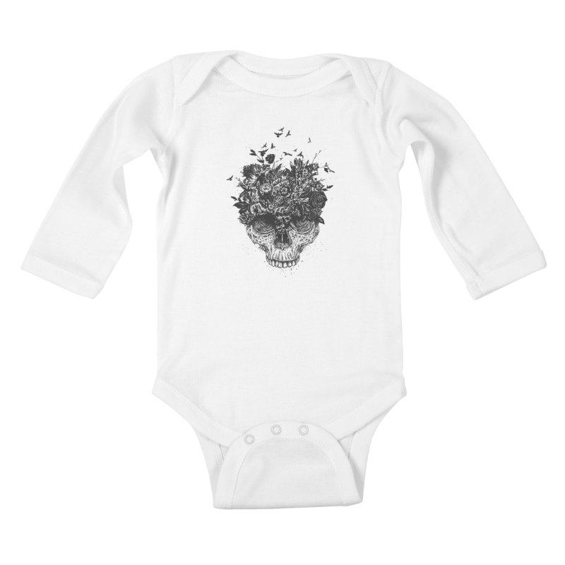 My head is a jungle (bw) Kids Baby Longsleeve Bodysuit by Balazs Solti