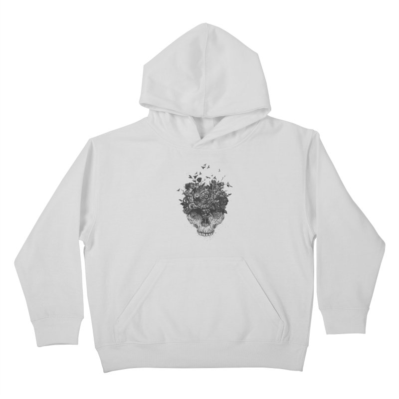 My head is a jungle (bw) Kids Pullover Hoody by Balazs Solti