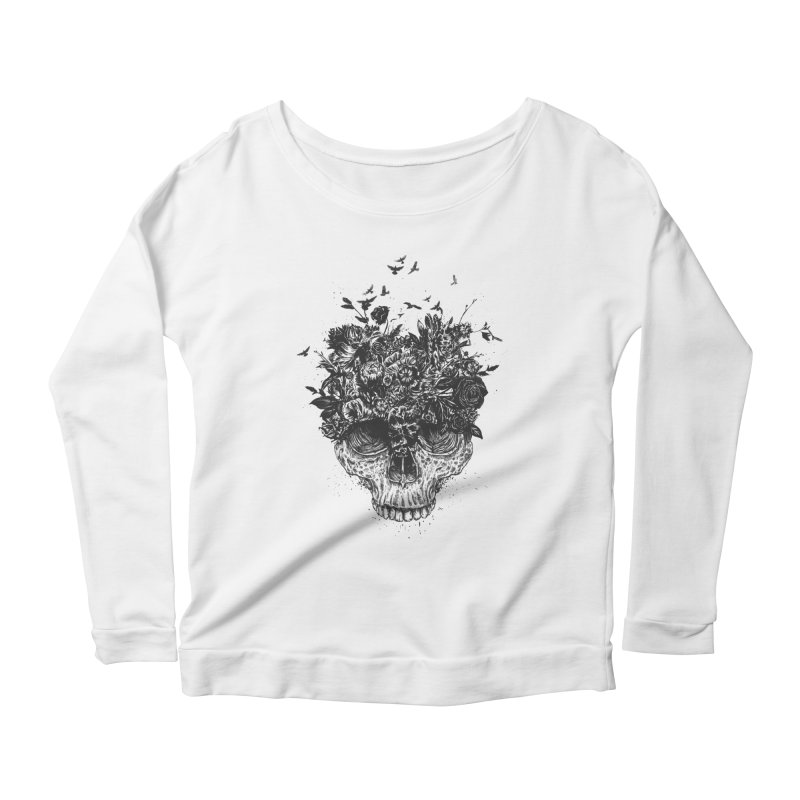 My head is a jungle (bw) Women's Scoop Neck Longsleeve T-Shirt by Balazs Solti
