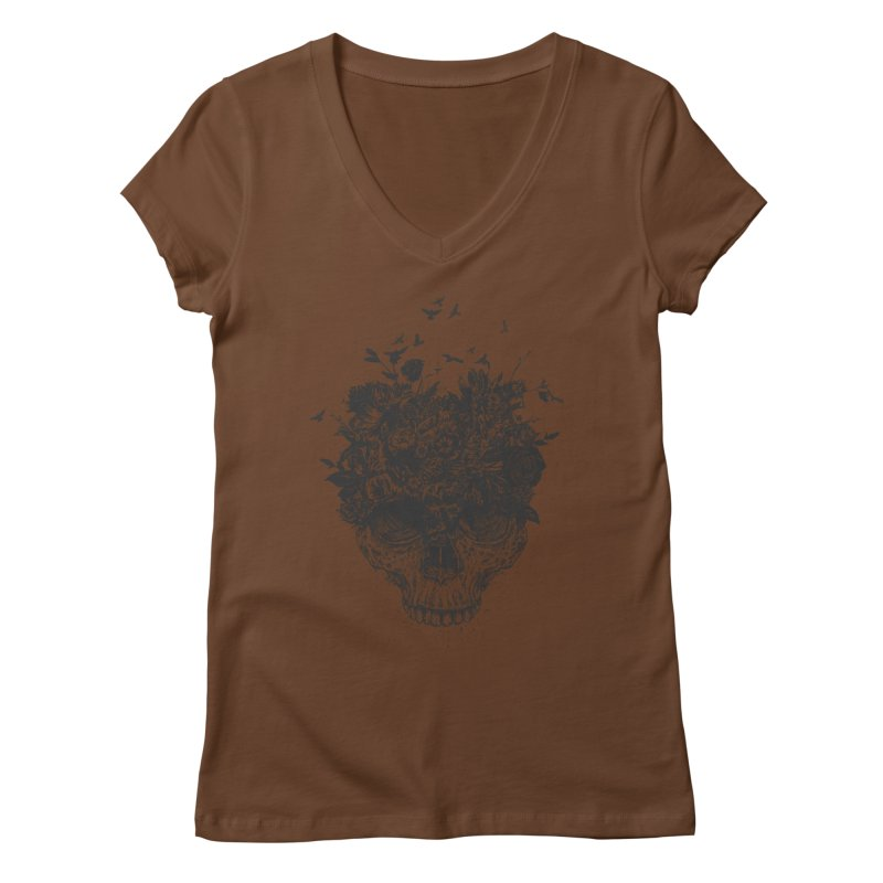 My head is a jungle (bw) Women's Regular V-Neck by Balazs Solti