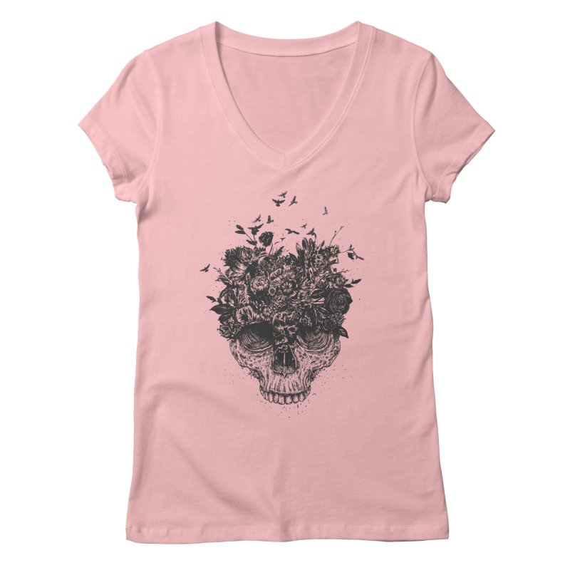 My head is a jungle (bw) Women's V-Neck by Balazs Solti