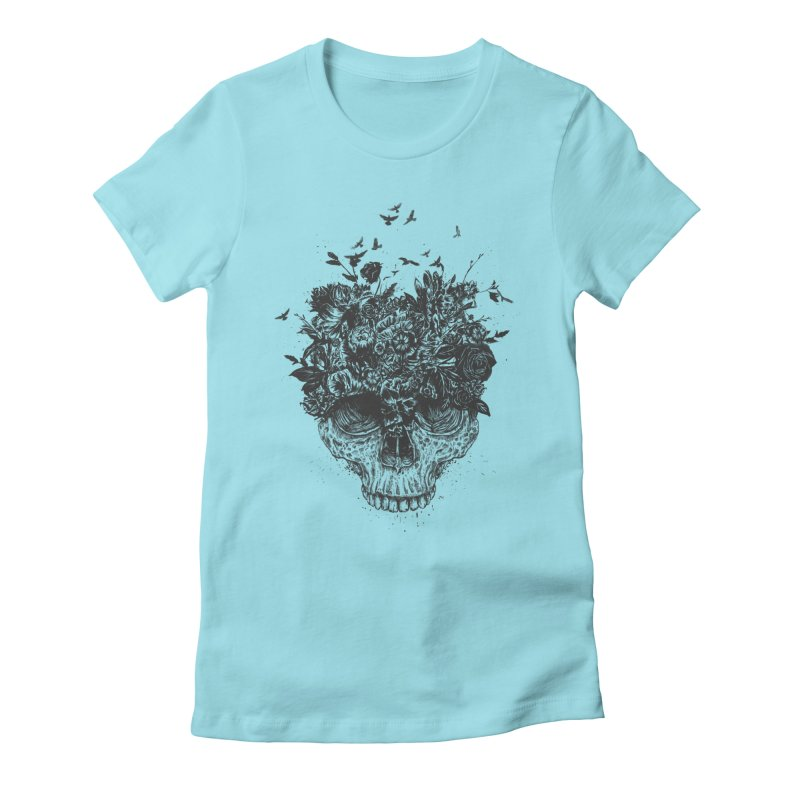 My head is a jungle (bw) Women's Fitted T-Shirt by Balazs Solti