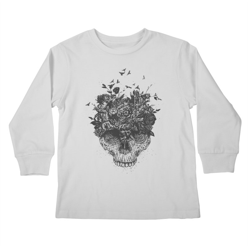 My head is a jungle (bw) Kids Longsleeve T-Shirt by Balazs Solti