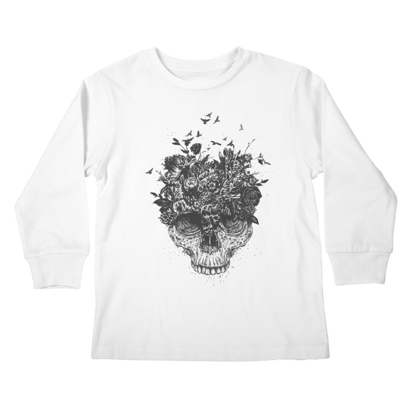 My head is a jungle (bw) Kids Longsleeve T-Shirt by Balazs Solti