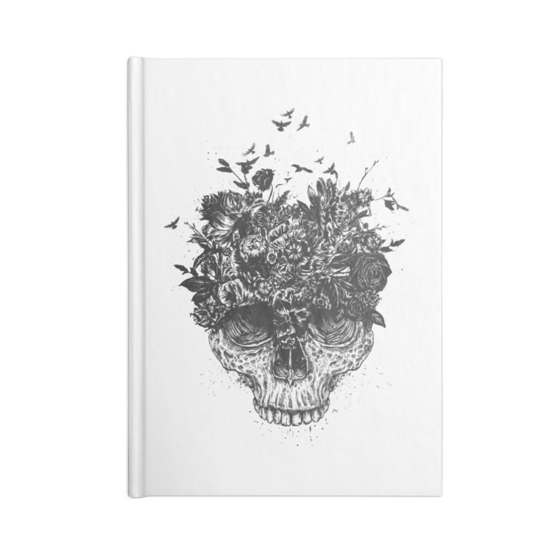 My head is a jungle (bw) Accessories Lined Journal Notebook by Balazs Solti