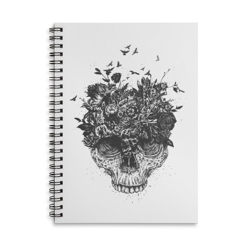 My head is a jungle (bw) Accessories Lined Spiral Notebook by Balazs Solti