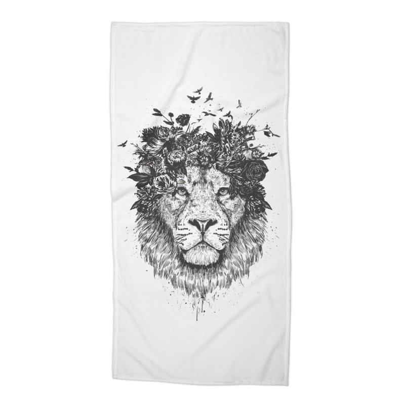 Floral lion (bw) Accessories Beach Towel by Balazs Solti