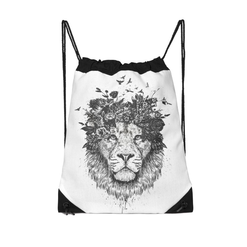 Floral lion (bw) Accessories Drawstring Bag Bag by Balazs Solti