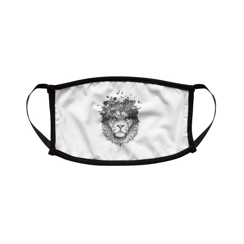 Floral lion (bw) Accessories Face Mask by Balazs Solti