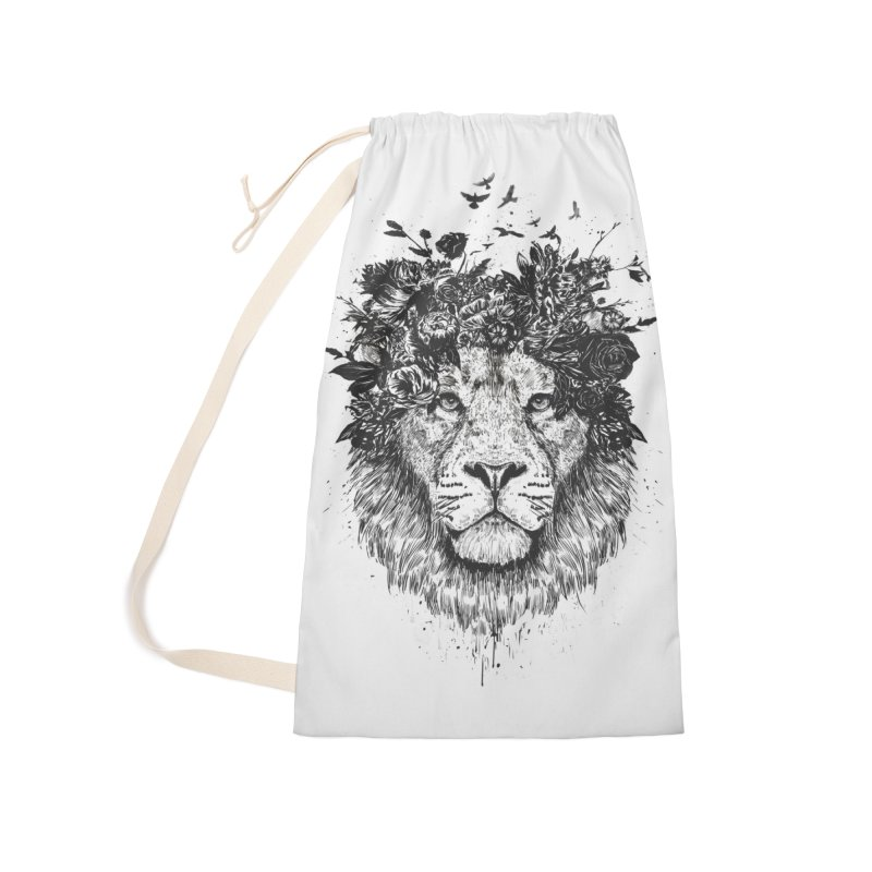 Floral lion (bw) Accessories Laundry Bag Bag by Balazs Solti