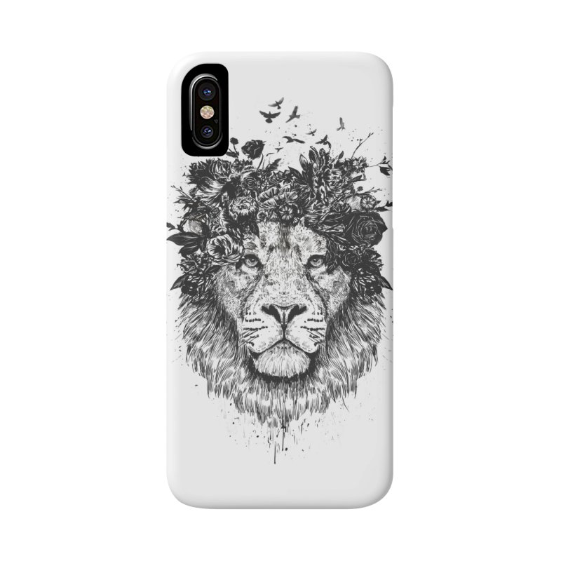 Floral lion (bw) Accessories Phone Case by Balazs Solti