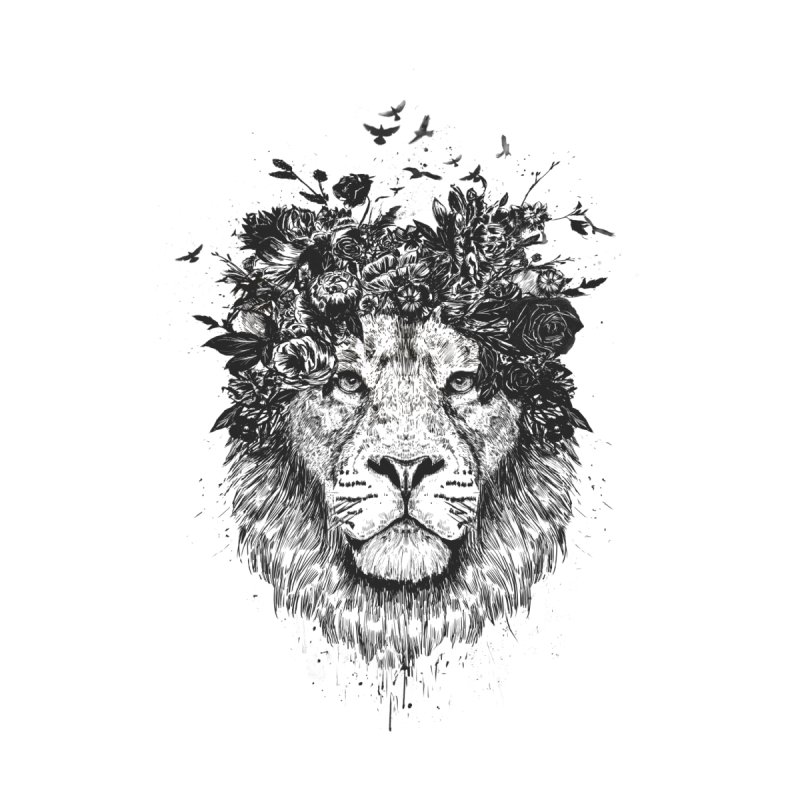 Floral lion (bw) Home Framed Fine Art Print by Balazs Solti