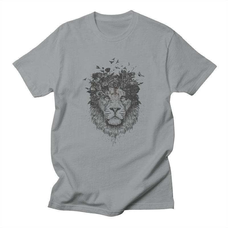Floral lion (bw) Men's T-Shirt by Balazs Solti