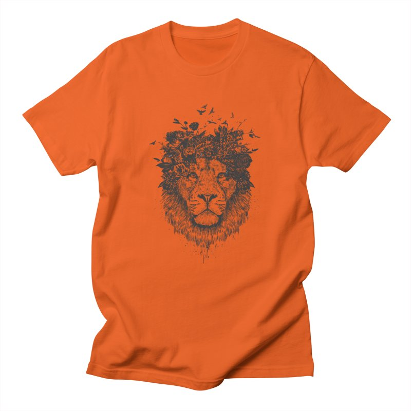 Floral lion (bw) Men's T-Shirt by Balazs Solti