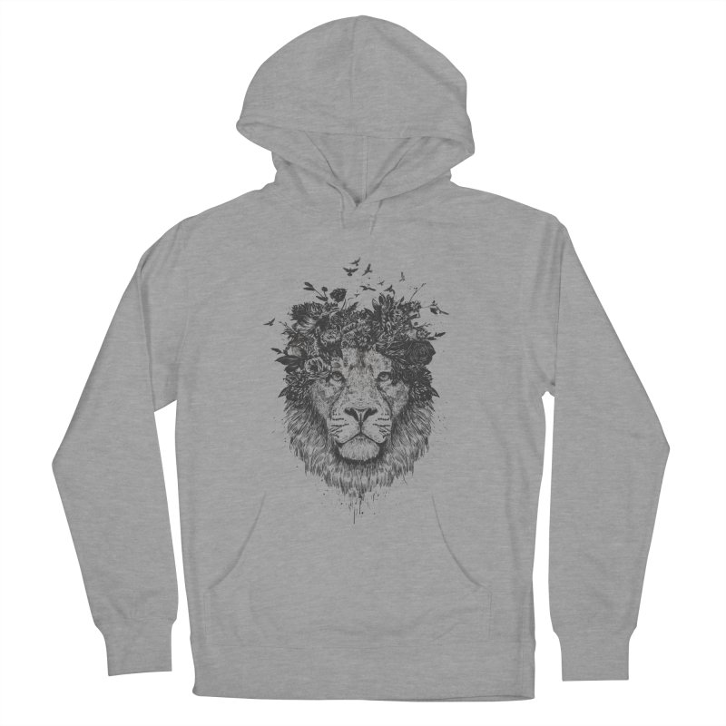 Floral lion (bw) Women's French Terry Pullover Hoody by Balazs Solti