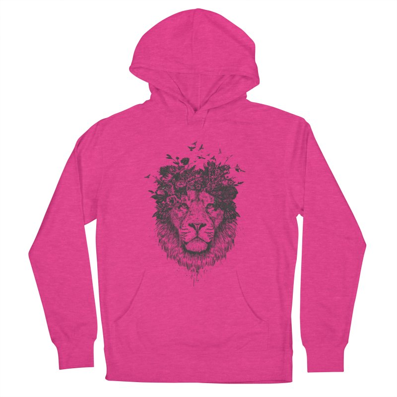 Floral lion (bw) Men's French Terry Pullover Hoody by Balazs Solti