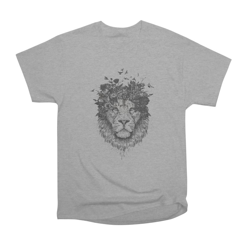 Floral lion (bw) Women's Heavyweight Unisex T-Shirt by Balazs Solti