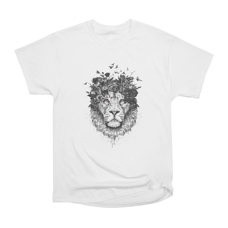 Floral lion (bw) Women's Heavyweight Unisex T-Shirt by Balazs Solti