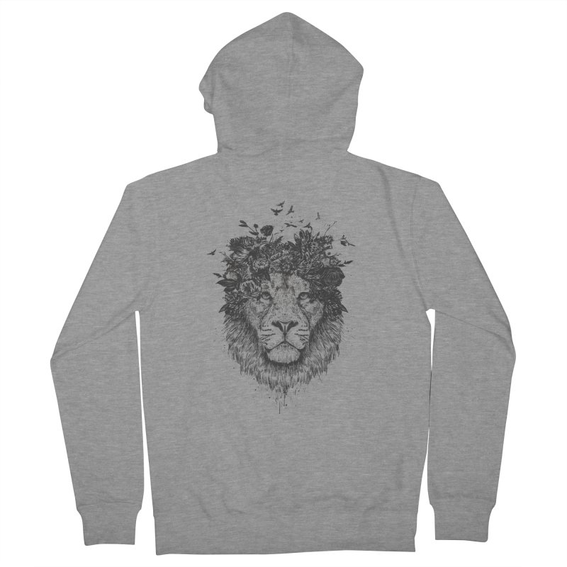 Floral lion (bw) Women's French Terry Zip-Up Hoody by Balazs Solti