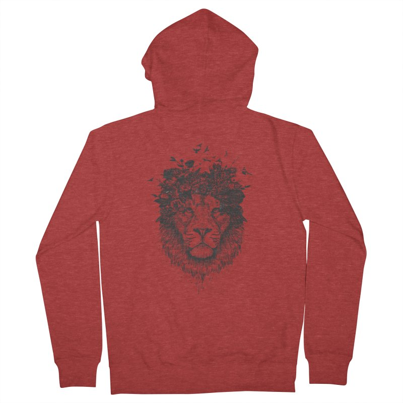 Floral lion (bw) Men's French Terry Zip-Up Hoody by Balazs Solti