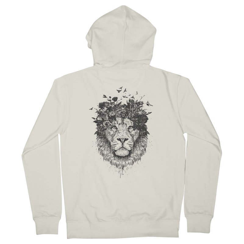Floral lion (bw) Men's Zip-Up Hoody by Balazs Solti