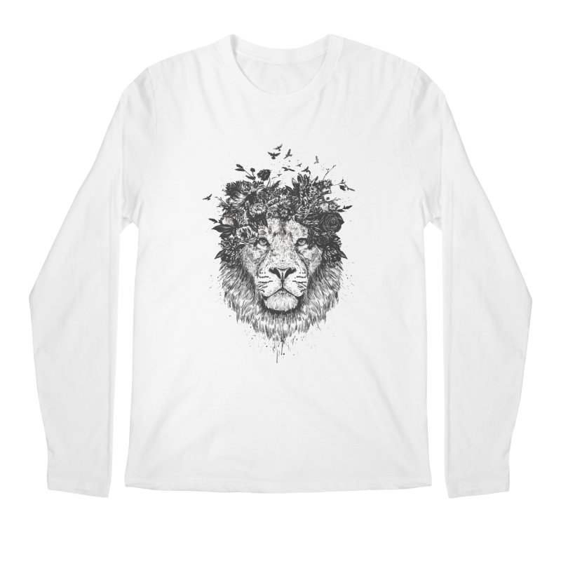 Floral lion (bw) Men's Regular Longsleeve T-Shirt by Balazs Solti
