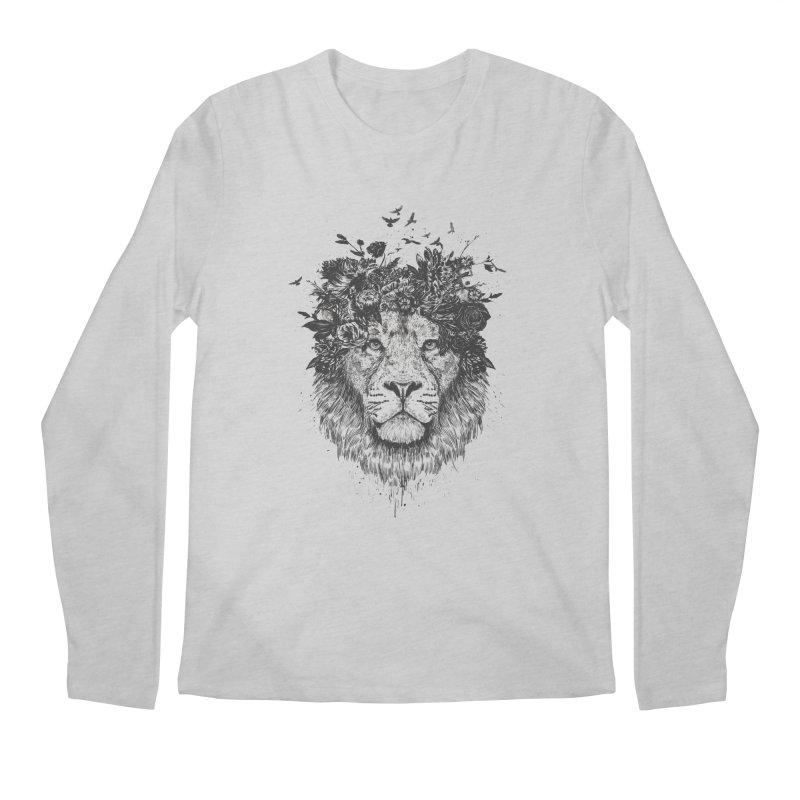 Floral lion (bw) Men's Longsleeve T-Shirt by Balazs Solti