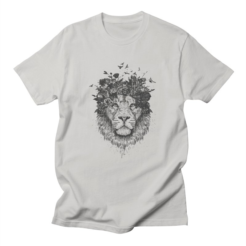 Floral lion (bw) Women's Regular Unisex T-Shirt by Balazs Solti