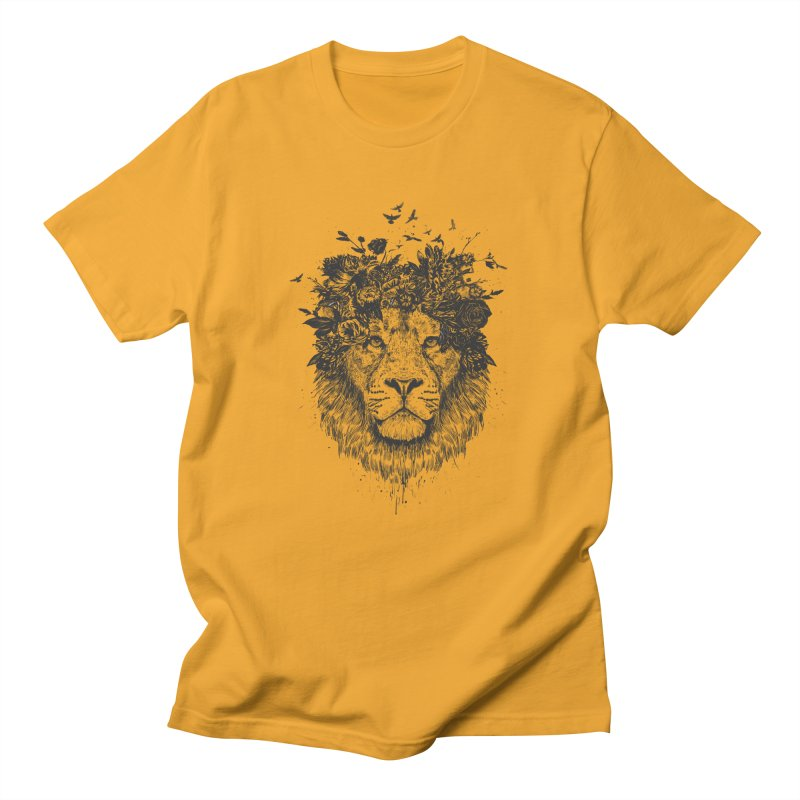 Floral lion (bw) Men's Regular T-Shirt by Balazs Solti