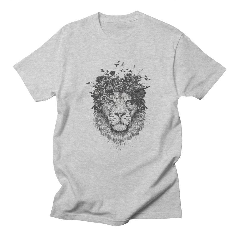 Floral lion (bw) Women's Regular Unisex T-Shirt by Balazs Solti