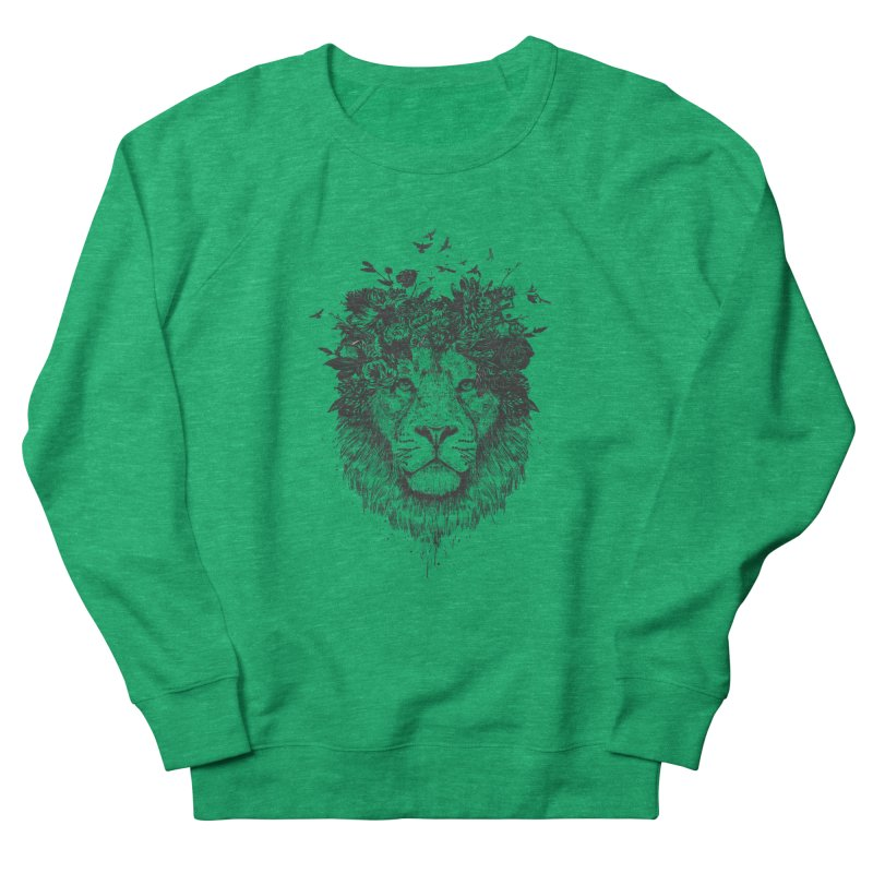 Floral lion (bw) Women's French Terry Sweatshirt by Balazs Solti