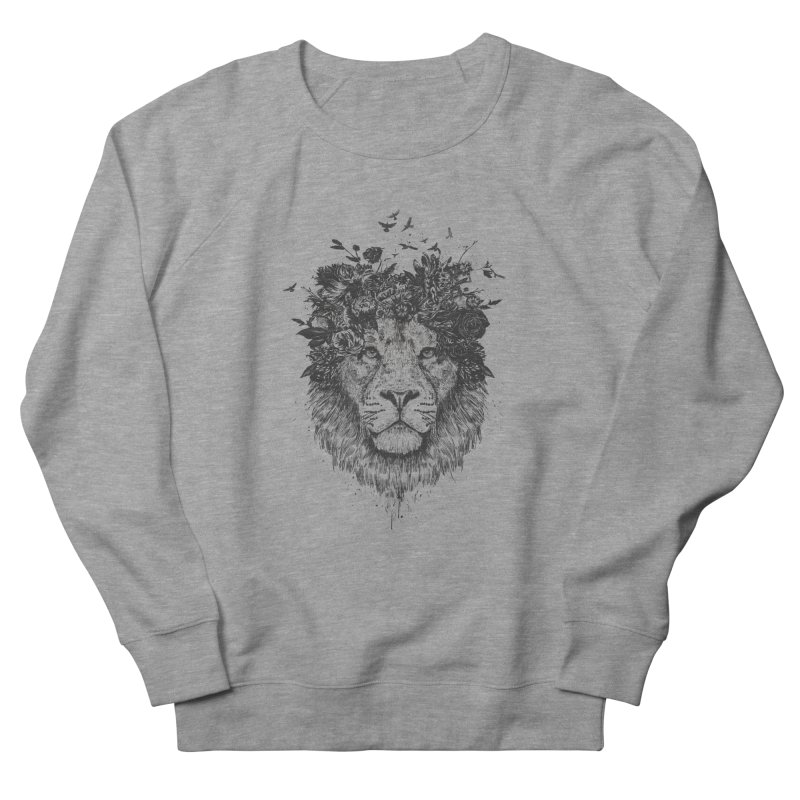 Floral lion (bw) Men's French Terry Sweatshirt by Balazs Solti