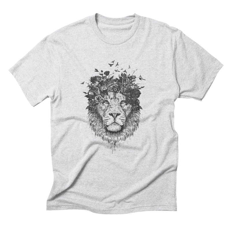 Floral lion (bw) Men's Triblend T-Shirt by Balazs Solti