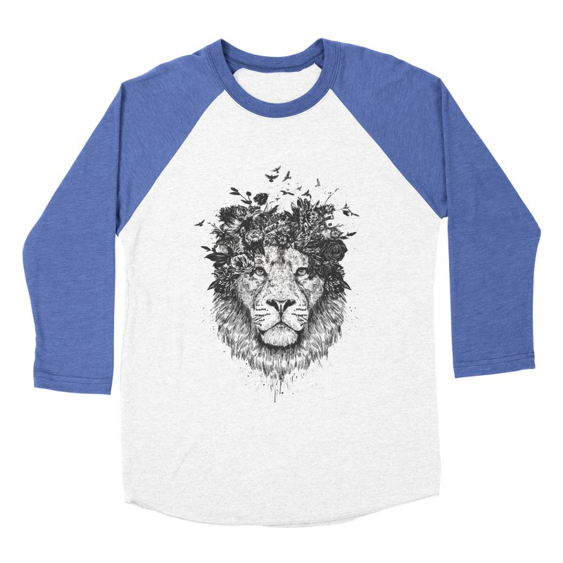 Floral lion (bw) Women's Baseball Triblend Longsleeve T-Shirt by Balazs Solti