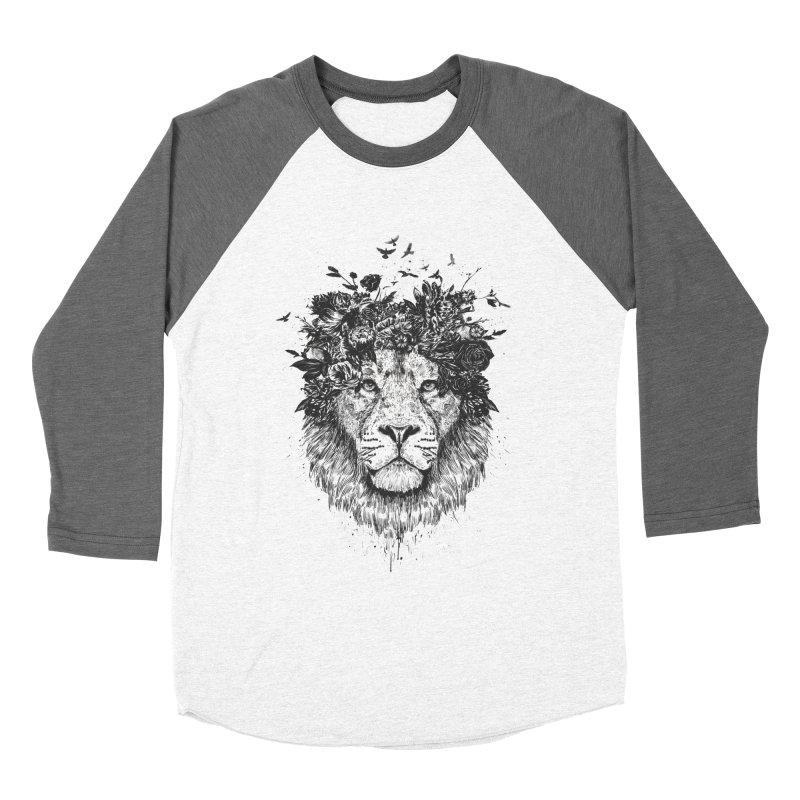 Floral lion (bw) Women's Longsleeve T-Shirt by Balazs Solti