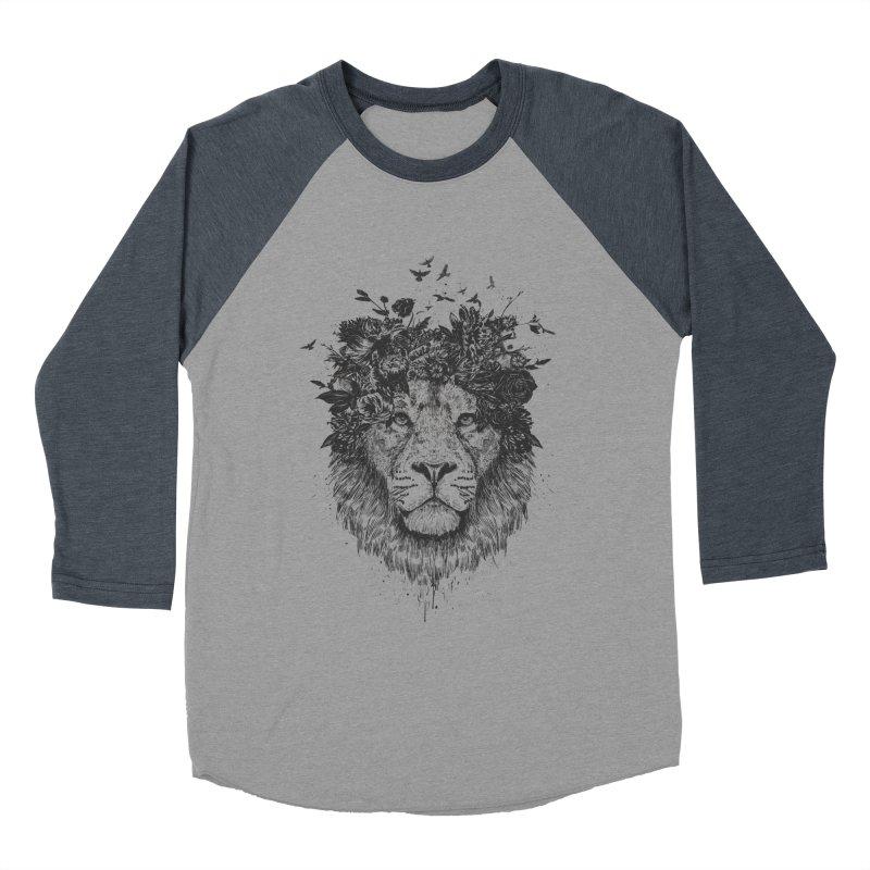Floral lion (bw) Women's Baseball Triblend Longsleeve T-Shirt by Balazs Solti