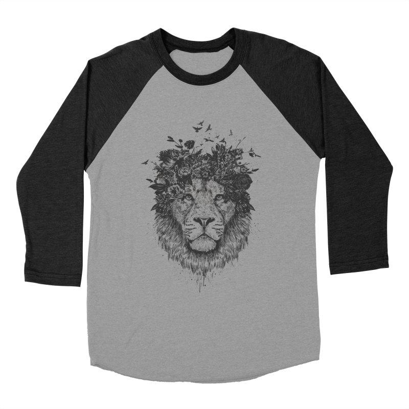 Floral lion (bw) Men's Baseball Triblend Longsleeve T-Shirt by Balazs Solti